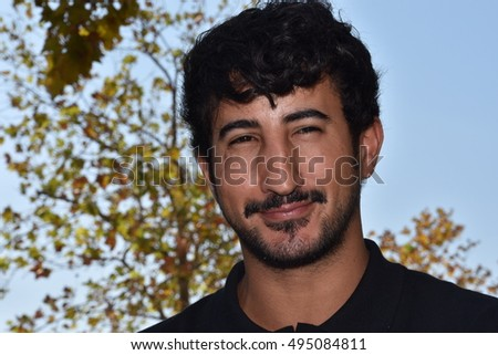 Marseille, France - October 06, 2016 : French cartoonist Yassin Latrache at the 5th edition of the International festival of press and political cartoons at l'Estaque.