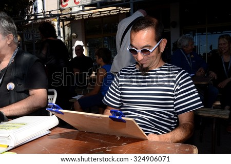 Marseille, France - September 19, 2015 : French cartoonist Raffa at the 4th edition of the International festival of press and political cartoons at l'Estaque.
