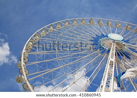 MARSEILLES, FRANCE - APRIL 23, 2016: Big wheel detail, The Old Port. Marseille is the second largest city in France after Paris and the center of the third largest metropolitan area