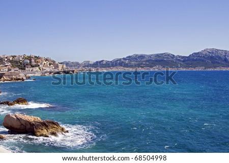 Marseilles, France, S-E sector: South eastern section of the city of Marseilles, France, seen from Mediterranean Sea. - stock photo
