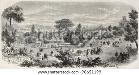 Marseilles Zoo old view, France. Created by Crapelet, published on L'Illustration, Journal Universel, Paris, 1858 - stock photo