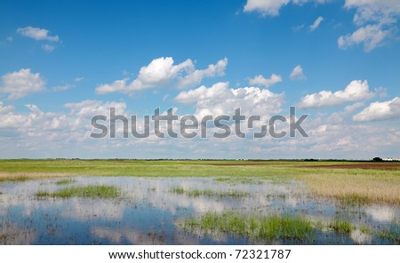 Marsh with cultivated land in background and beautiful sky - stock photo
