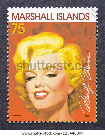 MARSHALL ISLANDS - CIRCA 1995: a postage stamp printed in Marshall Islands showing an image of Marilyn Monroe, circa 1995. - stock photo