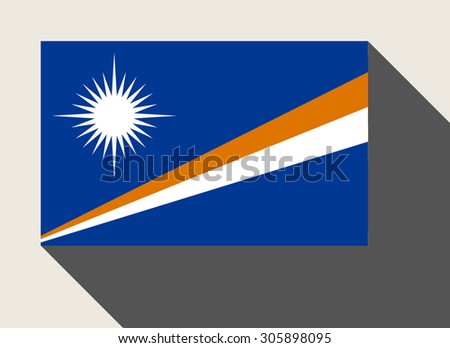 Marshall Islands flag in flat web design style. - stock photo