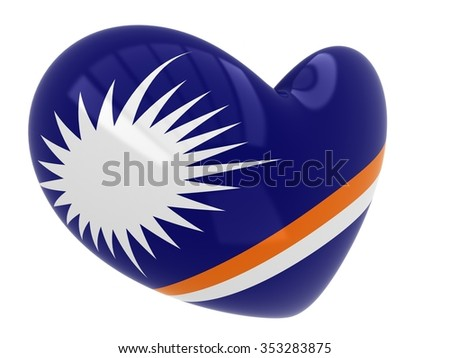 Marshall Islands flag in heart shape isolated on white background - stock photo