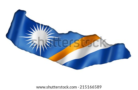 Marshall Islands flag map, three dimensional render, isolated on white - stock photo