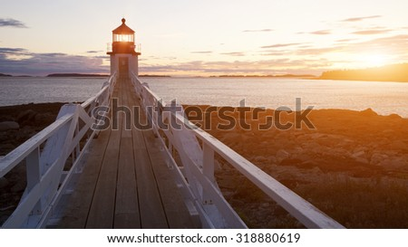 Marshall Point Lighthouse, located in Port Clyde, Maine, USA - stock photo