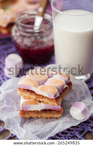 Marshmallow and Raspberry Jam Slices with a Glass of Milk, copy space for your text - stock photo