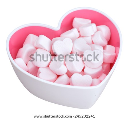 marshmallow for Valentine Day in heart shape bowl isolated on white  - stock photo