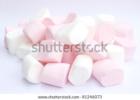 marshmallow on gray background - stock photo
