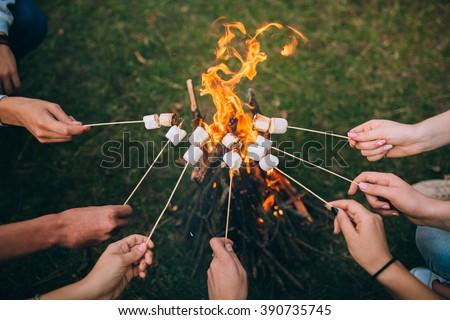 marshmallow on skewers - stock photo