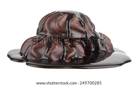 marshmallows in chocolate on a white background - stock photo