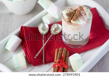 marshmallows,milk, and chocolate,cinnamon sticks,chocolate - stock photo