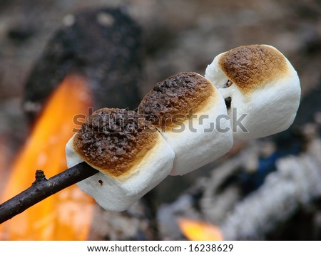 marshmallows toasting on a open campfire food - stock photo
