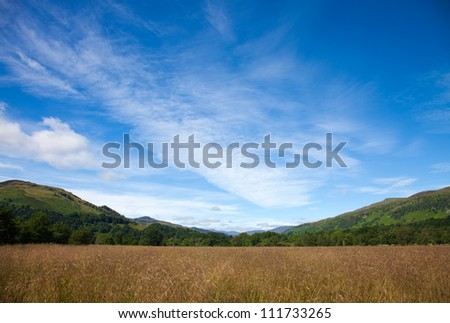 Marshy plain between Loch Tay and confluence of the rivers Dochart and Lochay - stock photo