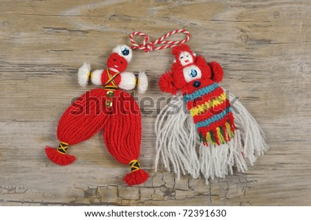 Martenitsa - traditional bulgarian homemade decoration for welcoming spring - stock photo