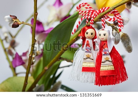 Martenitsa, traditional Bulgarian spring custom sign - stock photo