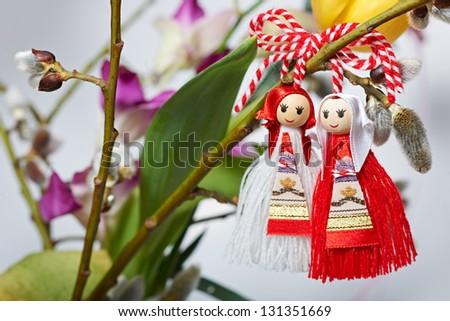 Martenitsa, traditional Bulgarian spring custom sign - stock photo