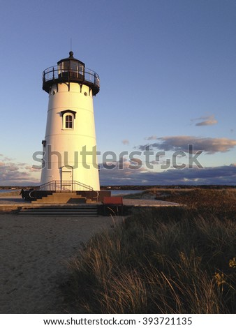 Martha's Vineyard lighthouse in late afternoon.