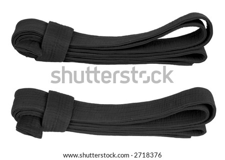 Martial art black belt from two angles. Isolated on white. - stock photo