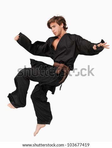 Martial arts fighter performing a jump kick against a white background - stock photo