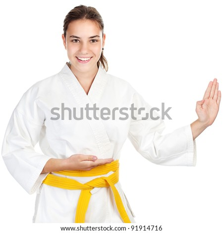 Martial arts girl, isolated on white background - stock photo