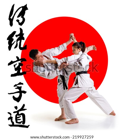 Martial arts master.Karate athletes on the background of the Japanese flag on a  white background. Sports Scramble. - stock photo