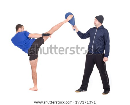 Martial Arts Sparring. Isolated on a white background. Studio shot - stock photo