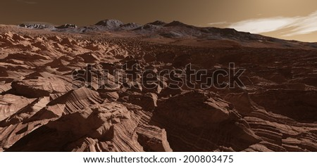 Martian ridgeline with fractured foreground strata - stock photo