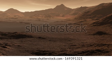 Martian valley with stony magnetite regolith deposits  - stock photo