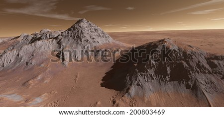 Martian volcanic intrusions with plains beyond - stock photo