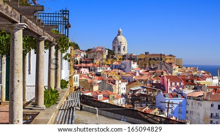 Martim Moniz district in Lisbon, Portugal - view from the hill.  - stock photo
