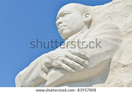 Martin Luther King Monument in Washington DC, USA - Close-up - stock photo
