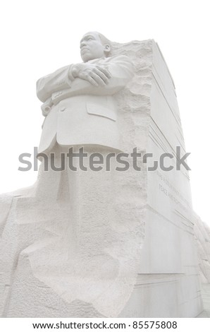 Martin Luther King Monument in Washington DC, USA - isolated on white background - stock photo