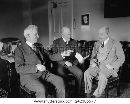Martin Madden, Frederick Gillett, and Nicholas Longworth meeting on May 22, 1924. Madden was chairman of the Appropriations Committee, Gillett was House Speaker, and Longworth was Majority Leader.