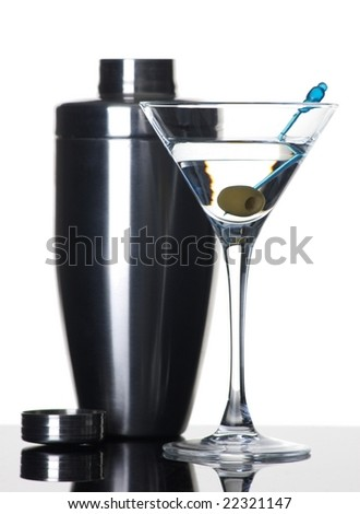 Martini and shaker on white background - stock photo