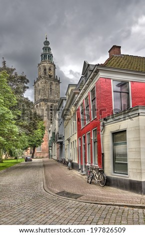 Martini church tower in Groningen, Holland - stock photo