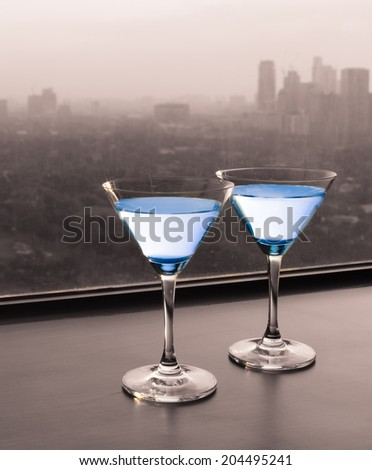 Martini cocktail glasses in luxury restaurant. - stock photo