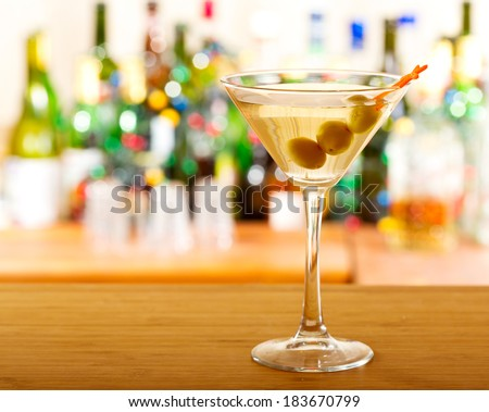 martini cocktail in a bar - stock photo
