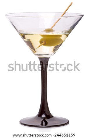 Martini cocktail in a martini glass  isolated on a white background  - stock photo