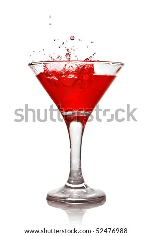 Martini cocktail with splash isolated on white