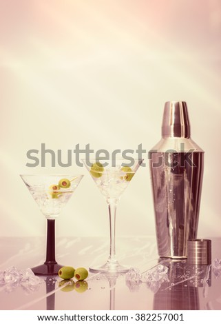 Martini cocktails with olives