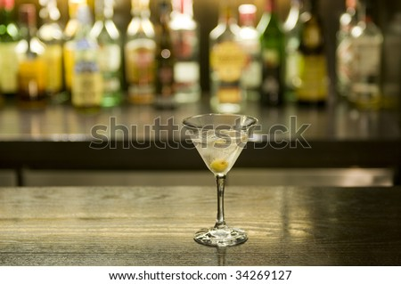 Martini drink cocktail in a bar - stock photo