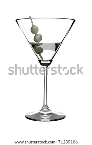 Martini drink glass with olives