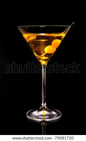 Martini drink isolated on black background