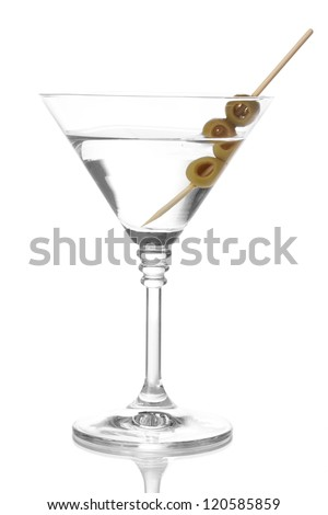 Martini glass and olives isolated on white - stock photo