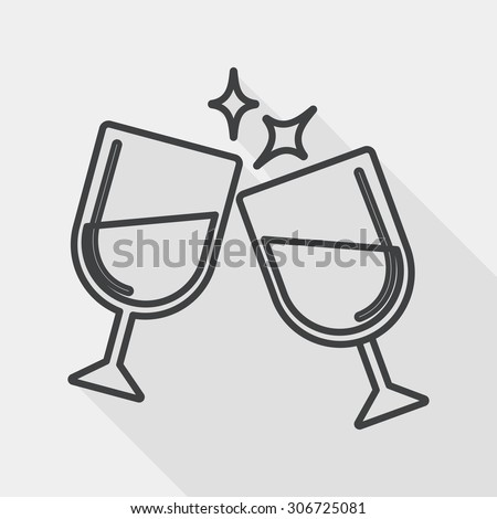 Martini glass cheers flat icon with long shadow, line icon - stock photo