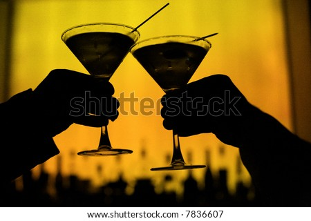 martini glass on green background - stock photo