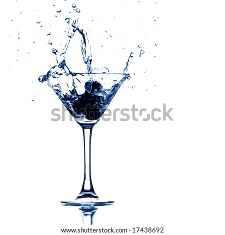 martini glass splash - stock photo