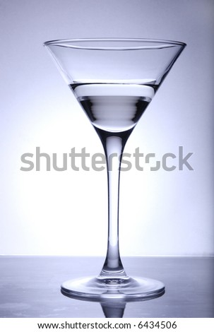 Martini glass (toned in blue).